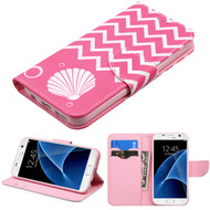 Executive Graphic Leather Wallet Case for Samsung Galaxy S7 - Pink Shell