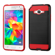 *Sale* Brushed Hybrid Armor Case for Samsung Galaxy Grand Prime - Black Red