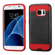 Brushed Hybrid Armor Case for Samsung Galaxy S7 - Black Red