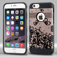 Military Grade TUFF Trooper Dual Layer Hybrid Case for iPhone 6 Plus / 6S Plus - Lace Flowers Rose Gold