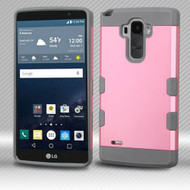 Military Grade Certified TUFF Trooper Dual Layer Hybrid Armor Case for LG G Stylo / Vista 2 - Pearl Pink Grey