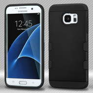 Military Grade Certified TUFF Trooper Dual Layer Hybrid Armor Case for Samsung Galaxy S7 Edge - Black
