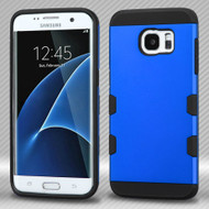 Military Grade Certified TUFF Trooper Dual Layer Hybrid Armor Case for Samsung Galaxy S7 Edge - Blue