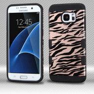 Military Grade Certified TUFF Trooper Dual Layer Hybrid Armor Case for Samsung Galaxy S7 Edge - Zebra Rose Gold