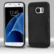 Military Grade TUFF Trooper Dual Layer Hybrid Armor Case for Samsung Galaxy S7 - Black