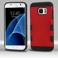 Military Grade Certified TUFF Trooper Dual Layer Hybrid Armor Case for Samsung Galaxy S7 - Red