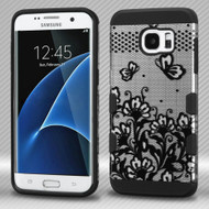 Military Grade Certified TUFF Trooper Dual Layer Hybrid Armor Case for Samsung Galaxy S7 Edge - Lace Flowers Black