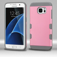 Military Grade Certified TUFF Trooper Dual Layer Hybrid Armor Case for Samsung Galaxy S7 Edge - Pearl Pink Grey