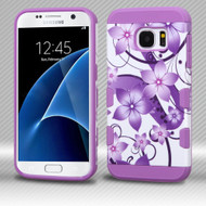 *Sale* Military Grade TUFF Trooper Dual Layer Hybrid Armor Case for Samsung Galaxy S7 - Purple Hibiscus Flower Romance