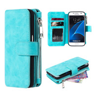 Luxury Coach Series Leather Wallet with Removable Magnet Case for Samsung Galaxy S7 - Blue