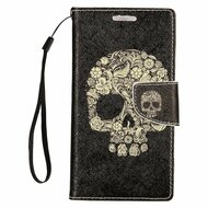 *SALE* Executive Graphic Leather Wallet Case for Samsung Galaxy S7 Edge - Skull