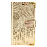 *SALE* Luxury Portfolio Leather Wallet for LG K7 / K8 / Escape 3 / Treasure LTE / Tribute 5 - Crocodile Gold