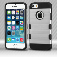Military Grade TUFF Trooper Dual Layer Hybrid Armor Case for iPhone SE / 5S / 5 - Brushed Silver