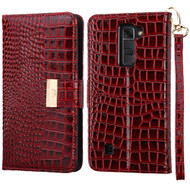 Crocodile Embossed Leather Wallet Case for LG K7 / Escape 3 / Treasure LTE / Tribute 5 - Burgundy