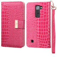 Crocodile Embossed Leather Wallet Case for LG K7 / K8 / Escape 3 / Treasure LTE / Tribute 5 - Hot Pink