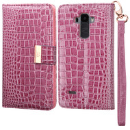 Crocodile Embossed Leather Wallet Case for LG G Stylo / Vista 2 - Purple