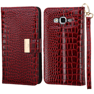Crocodile Embossed Leather Wallet Case for Samsung Galaxy Grand Prime - Burgundy