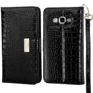 Crocodile Embossed Leather Wallet Case for Samsung Galaxy Grand Prime - Black