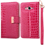 Crocodile Embossed Leather Wallet Case for Samsung Galaxy Grand Prime - Hot Pink
