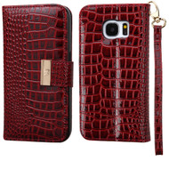 *SALE* Crocodile Embossed Leather Wallet Case for Samsung Galaxy S7 - Burgundy