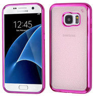 Electroplating Sparkling Frost TPU Case for Samsung Galaxy S7 - Hot Pink Rose Gold