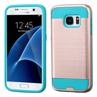 Brushed Hybrid Armor Case for Samsung Galaxy S7 - Rose Gold Teal