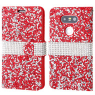 Round Brilliant Diamond Leather Wallet Case for LG G5 - Red