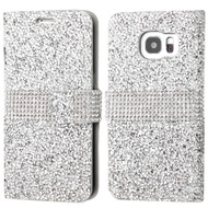 Round Brilliant Diamond Leather Wallet Case for Samsung Galaxy S7 Edge - Silver