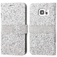 Round Brilliant Diamond Leather Wallet Case for Samsung Galaxy S7 Edge - Silver
