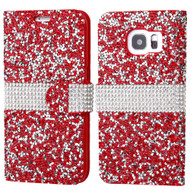 Round Brilliant Diamond Leather Wallet Case for Samsung Galaxy S7 Edge - Red