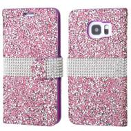 Round Brilliant Diamond Leather Wallet Case for Samsung Galaxy S7 Edge - Purple