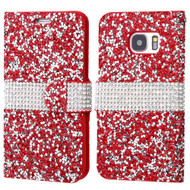 Round Brilliant Diamond Leather Wallet Case for Samsung Galaxy S7 - Red