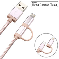 Mybat MFI 2-IN-1 Lightning and Micro USB Connector Charging & Sync Cable - Rose Gold