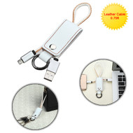 Portable Leather Micro USB Data Sync and Charging Cable with Key Chain - White