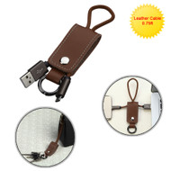 *SALE* Portable Leather Micro USB Data Sync and Charging Cable with Key Chain - Brown