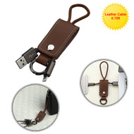 Mybat Portable Leather Lightning Connector to USB Charging and Sync Cable with Key Chain - Brown