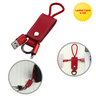 Mybat Portable Leather Lightning Connector to USB Charging and Sync Cable with Key Chain - Red