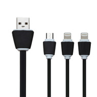 Mybat 3-IN-1 Lightning and Micro USB Connector Charging Cable - Black