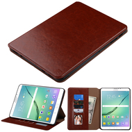 Book-Style Leather Folio Case for Samsung Galaxy Tab S2 9.7 - Brown