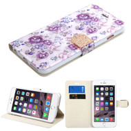 Art Design Portfolio Leather Wallet for iPhone 6 Plus / 6S Plus - Fresh Purple Flowers