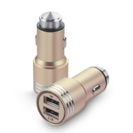 Dual USB Metal Alloy Car Charger Adapter with Emergency Safety Hammer Function - Gold