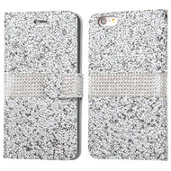 Round Brilliant Diamond Leather Wallet Case for iPhone 6 Plus / 6S Plus - Silver