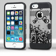 Military Grade Certified TUFF Trooper Dual Layer Hybrid Armor Case for iPhone SE / 5S / 5 - Lace Flowers Black
