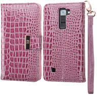 Crocodile Embossed Leather Wallet Case for LG K7 / K8 / Escape 3 / Treasure LTE / Tribute 5 - Purple
