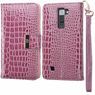 *Sale* Crocodile Embossed Leather Wallet Case for LG K7 / K8 / Escape 3 / Treasure LTE / Tribute 5 - Purple