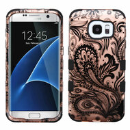 Military Grade TUFF Image Hybrid Case for Samsung Galaxy S7 Edge - Phoenix Flower Rose Gold