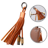 Portable Leather Micro USB Data Sync and Charging Cable with Tassel Key Chain - Beige