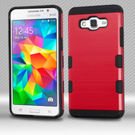 *Sale* Military Grade TUFF Trooper Dual Layer Hybrid Armor Case for Samsung Galaxy Grand Prime - Brushed Red
