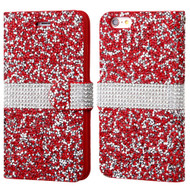 Round Brilliant Diamond Leather Wallet Case for iPhone 6 / 6S - Red