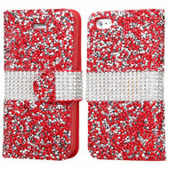Round Brilliant Diamond Leather Wallet Case for iPhone SE / 5S / 5 - Red